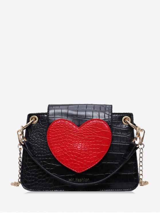 fashion Heart Pattern Shoulder Bag - BLACK