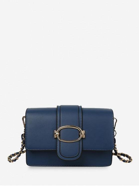 chic Leather Solid Chain Shoulder Bag - BLUE