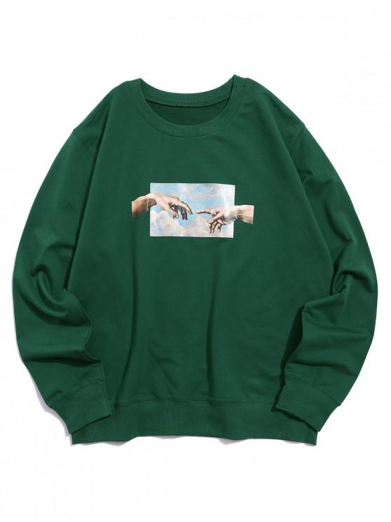 shop Helping Hands Pattern Casual Sweatshirt - JUNGLE GREEN L