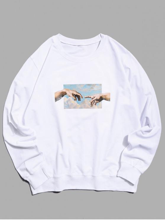 Popular Sale Helping Hands Pattern Casual Sweatshirt   White Xs by Zaful