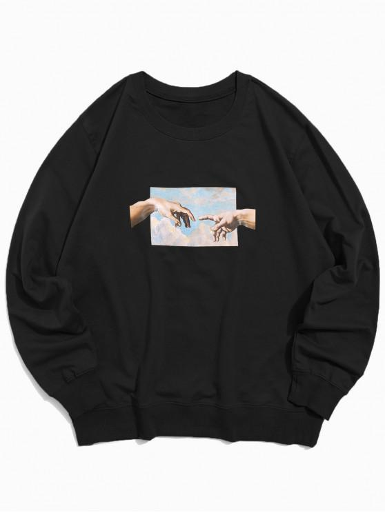 affordable Helping Hands Pattern Casual Sweatshirt - BLACK XS