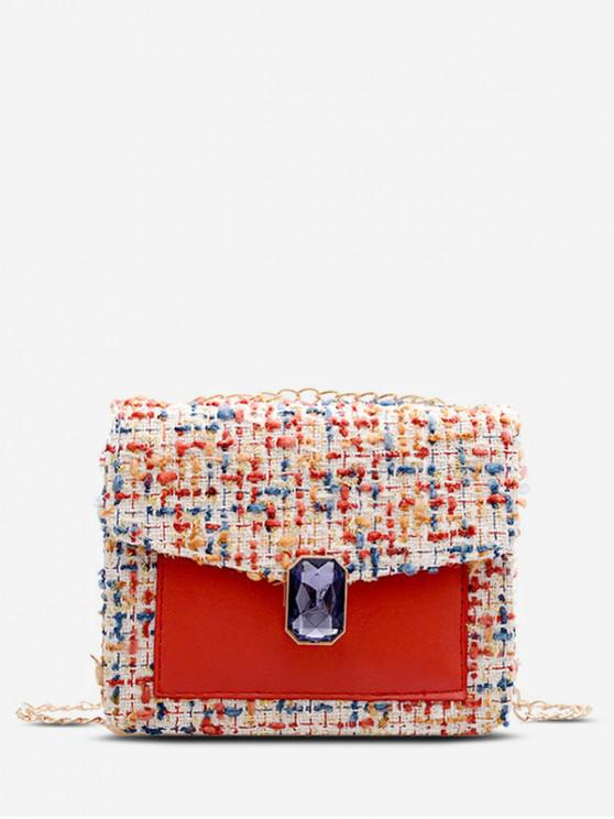 fancy Gem Decorated Messenger Chain Bag - ROSSO RED