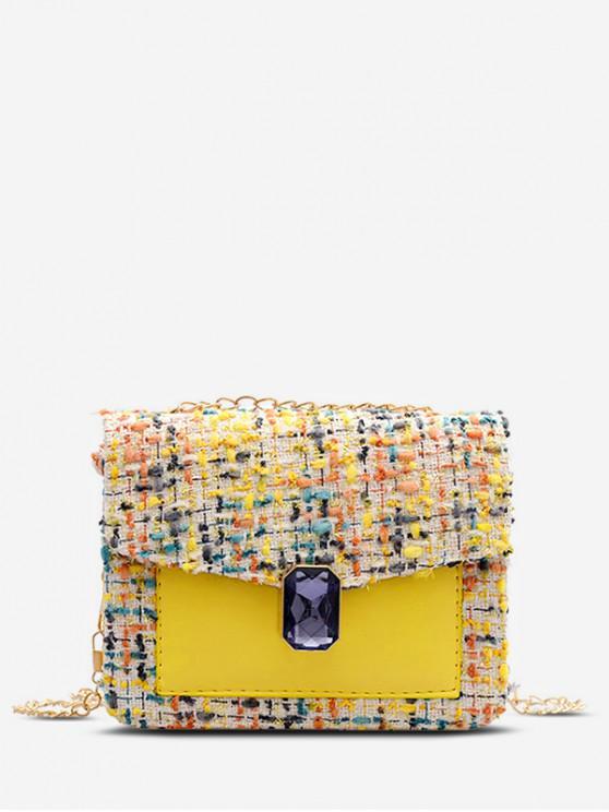 lady Gem Decorated Messenger Chain Bag - GOLDENROD