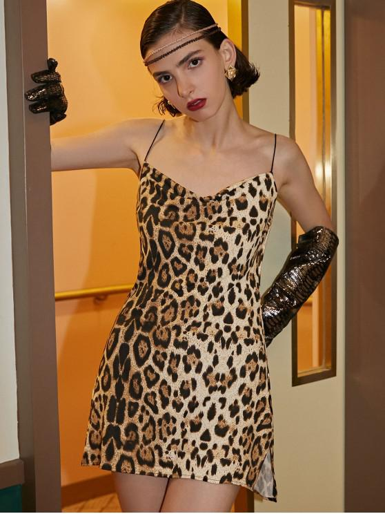 shop Snakeskin Leopard Print Slits Flared Cami Dress - MULTI-A S