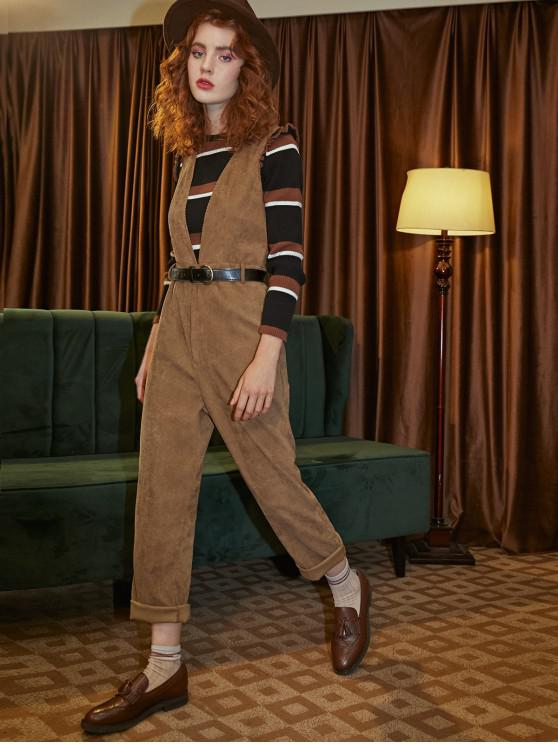 fashion Low Cut Corduroy Solid Suspender Jumpsuit - BROWN S