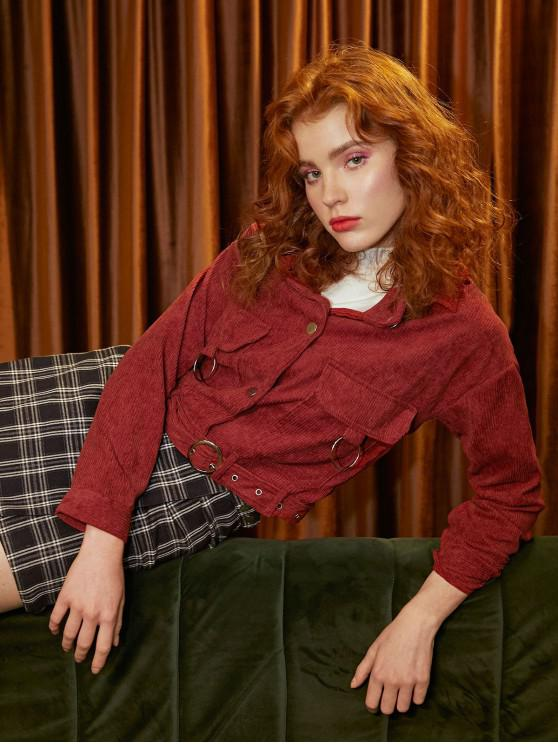 shops Button Up Pockets Belted Corduroy Jacket - RED XL