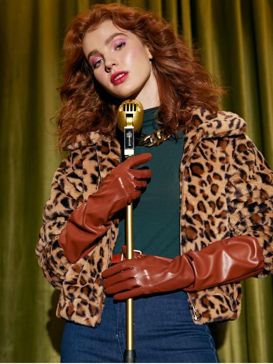 Искусственный мех Принт леопарда Куртка - Леопард S