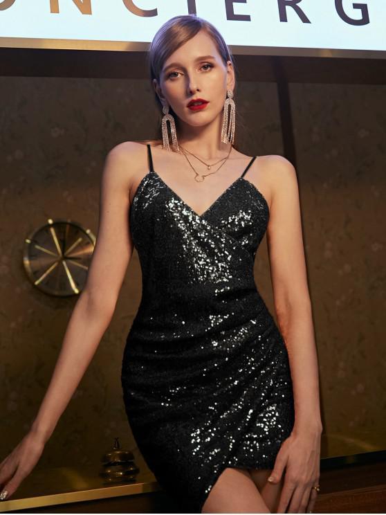 outfit ZAFUL Sequins Draped Cami Mini Dress - BLACK XL