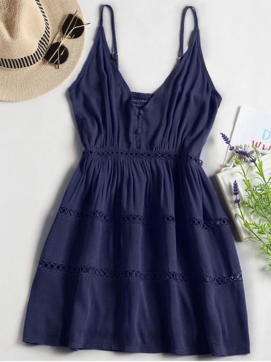 latest Hollow Out A Line Cami Dress - MIDNIGHT BLUE S