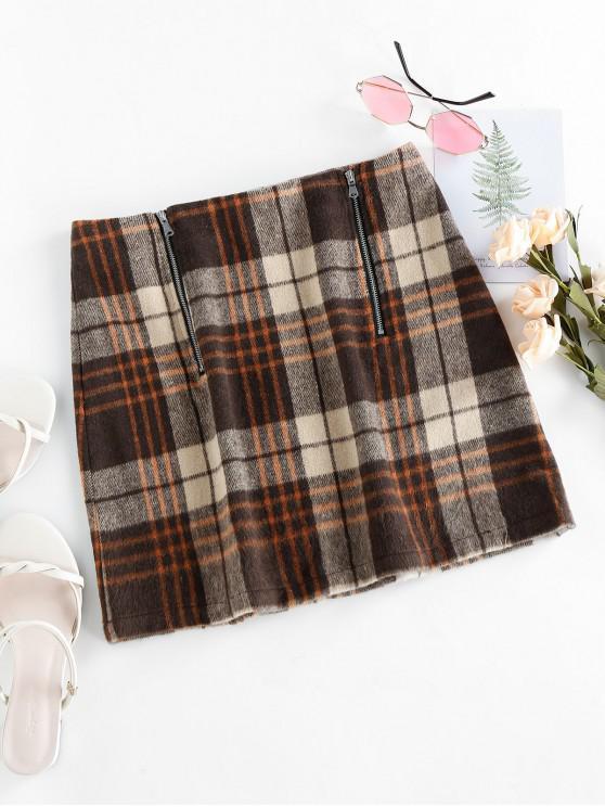 womens ZAFUL Plaid Zipper Mini Skirt - MULTI-C XL