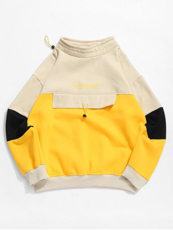 women's Colorblock Panel Letter Print Fleece Sweatshirt - WARM WHITE 2XL