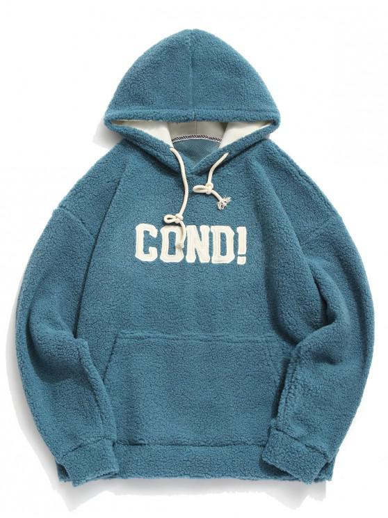 hot Elbow Patch Letter Fluffy Teddy Hoodie - BLUE M