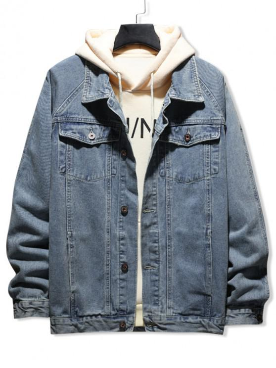 latest Solid Color Button Decorated Denim Jacket - BLUE GRAY S