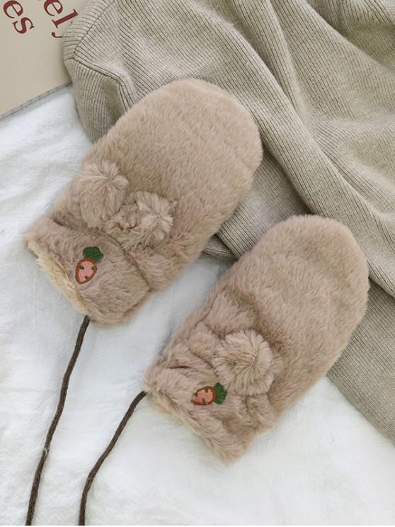 hot Rabbit Ears Faux Fur Mitten Gloves - KHAKI