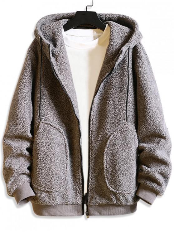 shop Solid Drawstring Hood Fluffy Teddy Jacket - GRAY 4XL