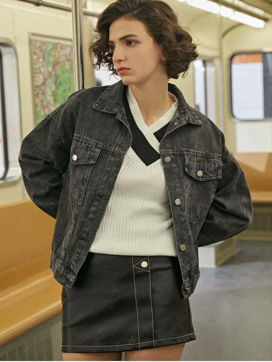 КарманДжинсовая Куртка С Цветочной Вышивкой И Плечами Падения - Чёрный Один размер