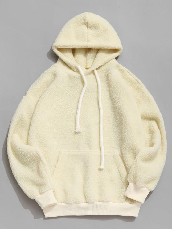 lady Solid Pouch Pocket Fluffy Teddy Hoodie - WARM WHITE M
