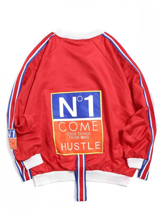 affordable Colorblock Letter Graphic Print Raglan Sleeve Jacket - RED 3XL