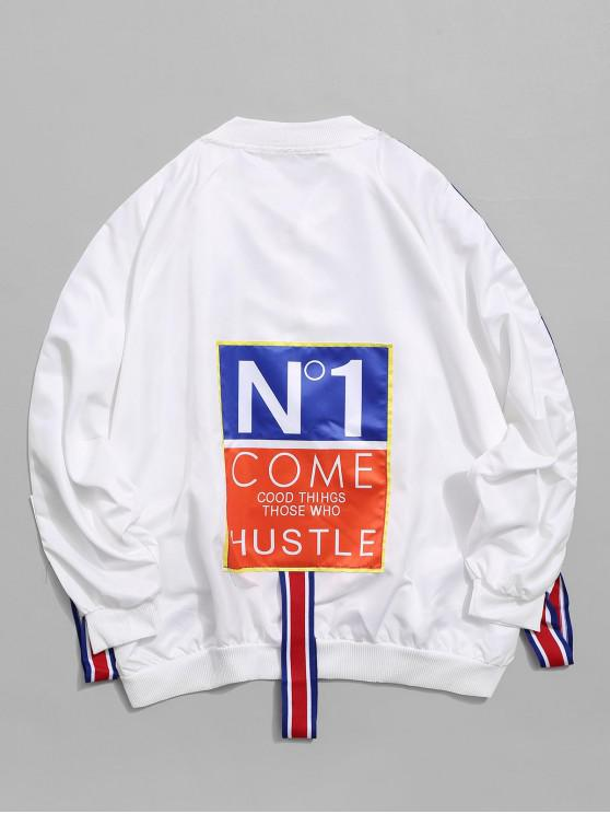 outfit Colorblock Letter Graphic Print Raglan Sleeve Jacket - WHITE 2XL