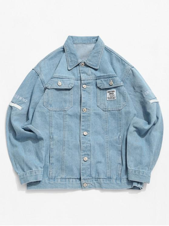 buy Casual Letter Pattern Button Denim Jacket - PASTEL BLUE M