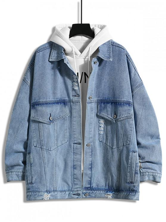ladies Destroyed Design Button Denim Jacket - DENIM BLUE XL