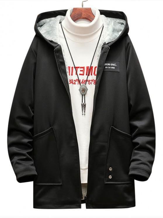 new Casual Letter Pattern Zip Fluffy Jacket - BLACK M