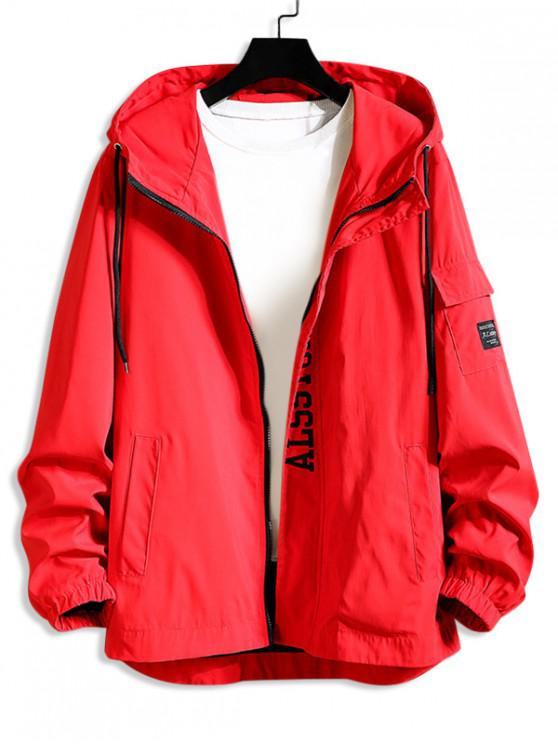 unique Colorblock Letter Print High Low Hooded Jacket - RED 4XL