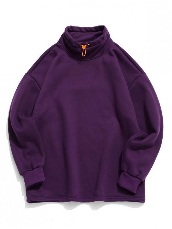 affordable Solid High Neck Pullover Fleece Sweatshirt - PURPLE IRIS 4XL