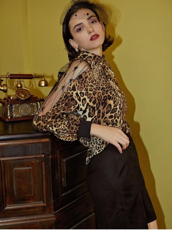 outfits Leopard Animal Print Mesh Panel Sheer Blouse - MULTI-A 2XL