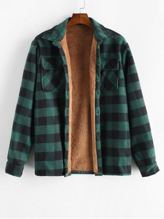 affordable ZAFUL Chest Pocket Plush Button Plaid Jacket - DEEP GREEN L
