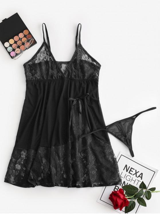 women's Bowknot Lace Panel Mesh Babydoll Set - BLACK XL