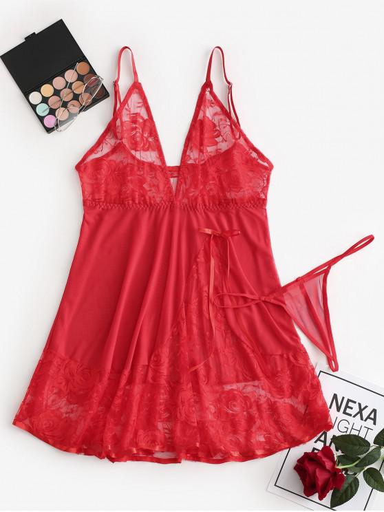 ladies Bowknot Lace Panel Mesh Babydoll Set - RED S