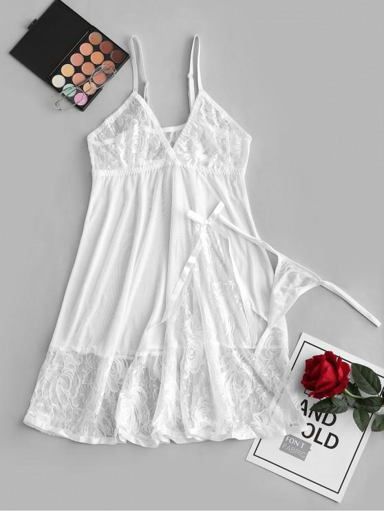 new Bowknot Lace Panel Mesh Babydoll Set - WHITE S