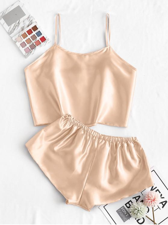 latest Satin Cami Pajamas Two Piece Set - CHAMPAGNE GOLD M