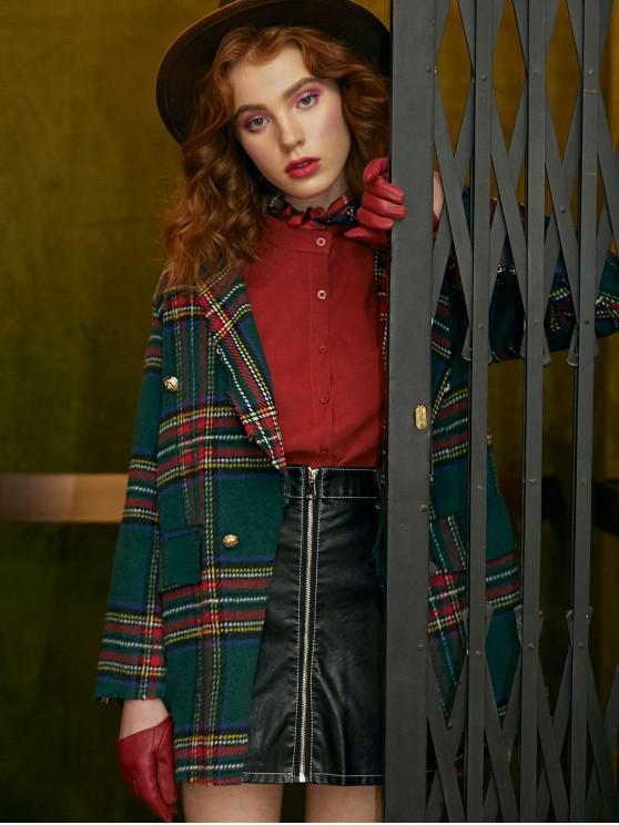 fashion Plaid Shawl Collar Tunic Coat - MEDIUM SEA GREEN XL