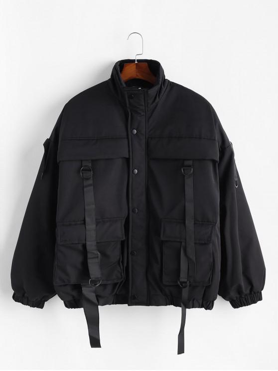 buy Solid Ribbon Flap Pocket Drop Shoulder Quilted Jacket - BLACK M