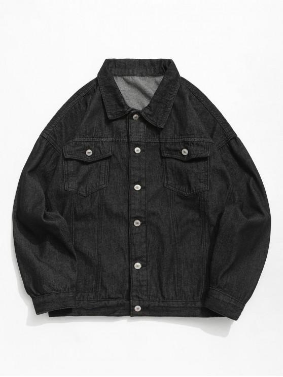 online Casual Solid Color Double Pocket Denim Jacket - BLACK XL