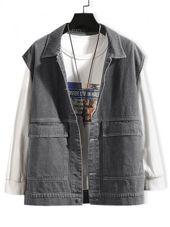shops Solid Color Pocket Decoration Denim Waistcoat - GRAY 2XL