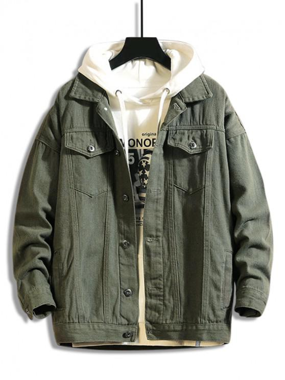 fashion Solid Color Button Up Leisure Jacket - CAMOUFLAGE GREEN M