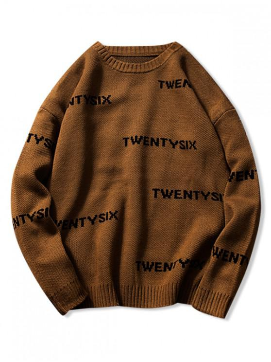 new Twentysix Letter Graphic Drop Shoulder Sweater - COFFEE 2XL