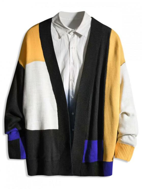 outfits Colorblock Panel Number Graphic Cardigan - MULTI L
