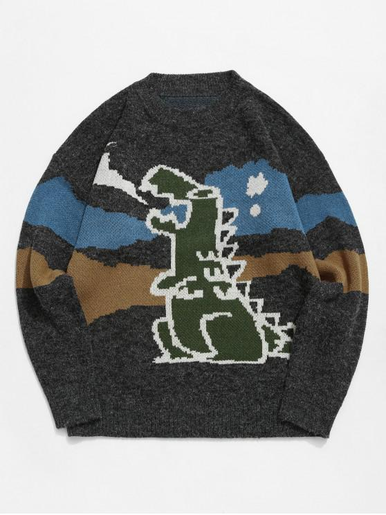 affordable Dinosaur Graphic Colorblock Drop Shoulder Sweater - BLACK XL