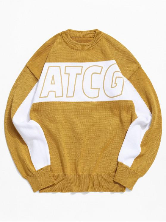 ladies Letter Graphic Colorblock Drop Shoulder Sweater - YELLOW 2XL