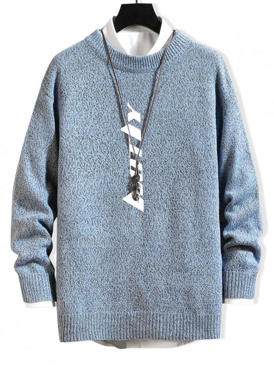 latest Letter Graphic Pullover Casual Sweater - SEA BLUE XS