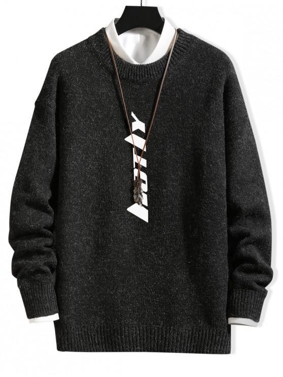 Графический принт буквы Пуловер Повседневный Свитер - Чёрный M