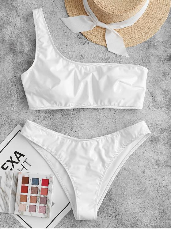 outfits ZAFUL Patent Leather Lace Up One Shoulder Bikini Swimsuit - WHITE M