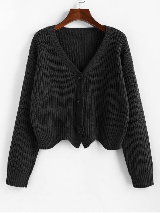 unique ZAFUL Button Up Drop Shoulder Wave Hem Cardigan - BLACK L