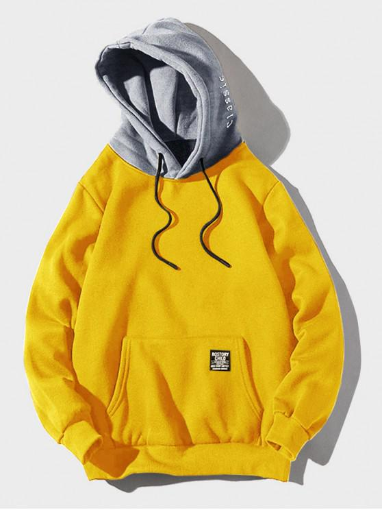 women Color-blocking Letter Patch Detail Pouch Pocket Fleece Hoodie - YELLOW M