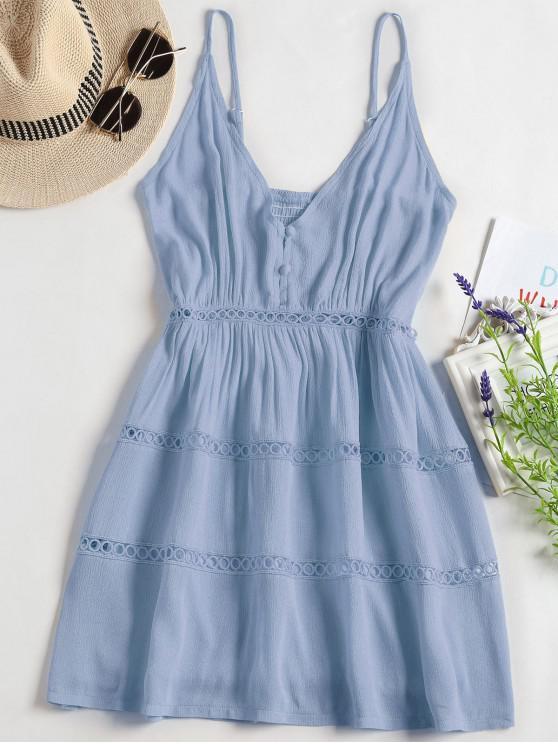 hot Hollow Out A Line Cami Dress - LIGHT BLUE XL
