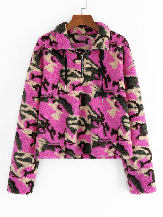 outfit ZAFUL Animal Camo Drop Shoulder Quarter Zip Teddy Sweatshirt - MULTI-C XL